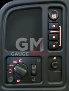 Left Dash Switches Bulb to Red LED Upgrade Kit for GM Trucks and SUVs 2003 2006 $28.99