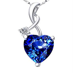 4.03Ct Blue Sapphire Gemstone Pendant Necklace .925 Sterling Silver w 18quot; Chain