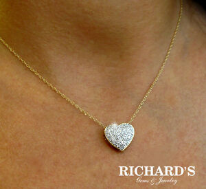 14K YELLOW GOLD PAVE HEART DIAMOND NECKLACE