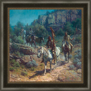Comanche Moon by Martin Grelle Native American Framed LE SN Canvas Giclee 38x38