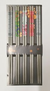 10 Stainless Steel Chopsticks Chop Sticks Beautiful Gift Set Assorted 5 Pairs $5.99
