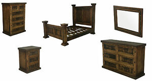 Dark Walnut Rustic Bedroom Set King Queen Real Solid Wood Western Cabin Lodge