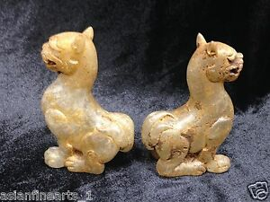 Old Chinese Antique Natural Crystal Animal Statue Set Carving Decoration #264