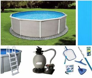 Belize Steel Wall Above Ground Pool Packages with Liner Ladder Pump and More