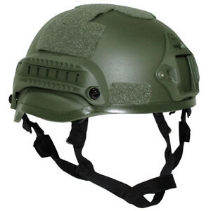 Tactical Combat Helmet 'Mich 2002' Rails Padding Chin Strap Airsoft Olive Green