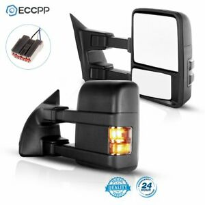 Side Mirrors Tow Mirrors Manual W Smoke Turn Signal PAIR For 03 07 Ford F250 $129.99