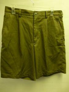 mens sz 33 NIKE Golf pleated lite green dress shorts swoosh polyester Clean
