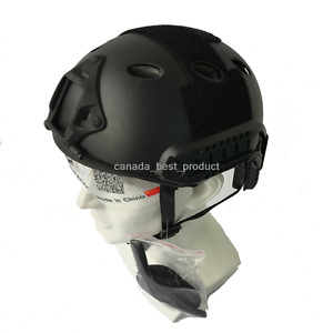 Tactical Airsoft Paintball Fast Helmet PJ Type with Protective Goggles Black