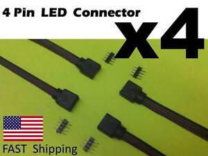 4x Male Female 4 pin With Wire RGB Connector 3528 5050 RGB LED light Strips part