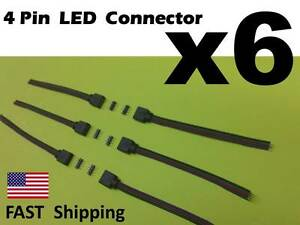 6 x Male Female 4 pin With Wire RGB Connector 3528 5050 RGB LED light Strips