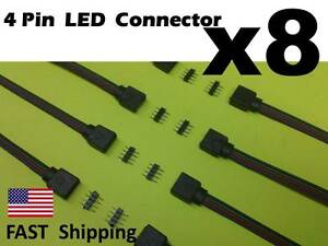 8 qty Male Female 4 Pin With Wire RGB Connector 3528 5050 RGB LED light Strips