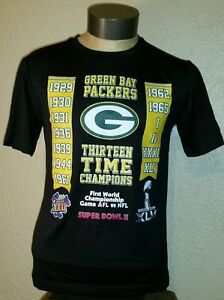 NEW NFL Apparel Green Bay Packers 13 Time Champions Dry Fit Shirt Mens Small (S)