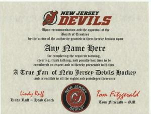 NEW JERSEY DEVILS HOCKEY FAN CERTIFICATE DIPLOMA GIFT MAN CAVE