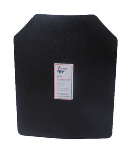 Level III AR500 Steel Body Armor Single 11x14 Curved Plate Coated - Quick Ship