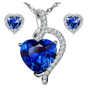 Sterling Silver Heart Cut Created Blue Sapphire Pendant Necklace