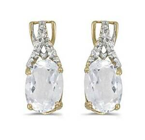 14k Yellow Gold Genuine Oval White Topaz and Diamond Earrings