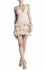 NEW BCBG DUSTYPINK PRISCILLA VNECK THREE TIERED RUFFLE DRESS WQR68A64M751W SZ 8