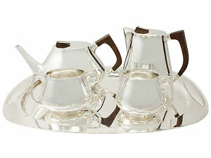 Sterling Silver Four Piece Tea & Coffee Set with Tray Design Style Vintage