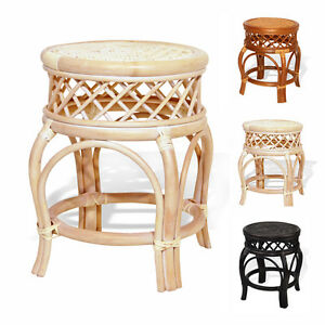Ginger Handmade Rattan Wicker Stool Ottoman Plant Stand 3 Colors