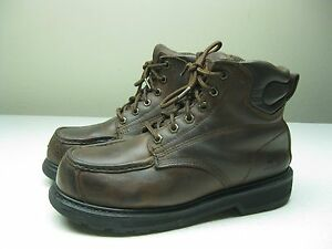 VINTAGE WELLCO STEEL TOE WORK SAFETY Leather ANKLE BOOTS SIZE 85 MENS.95 WOMEN