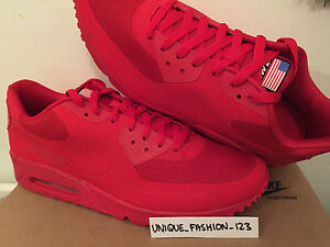 NIKE AIR MAX 90 HYPERFUSE INDEPENDENCE DAY USA 11 10 45 SPORT RED 613841-660 QS