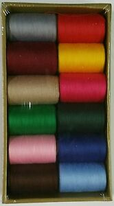 12 Spools Sewing Thread Polyester Assorted Colors 1200 yards each Spool NEW $11.99