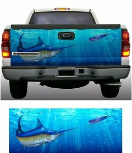 Blue Marlin fishing truck tailgate vinyl graphic decal wraps