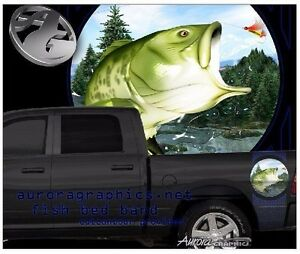 Large mouth bass fishing truck bed band vinyl graphic striping set