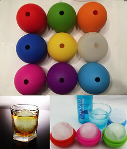 2.5quot; Bar Silicone Ice Cube Ball Maker Mold Sphere Large Tray Whiskey DIY Mould