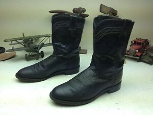 BLACK JUSTIN 3172 OSTRICH LEATHER ENGINEER TRUCKER WORK CHORE BOOTS SIZE 10 EE