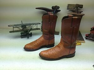 JUSTIN 3186 DISTRESSED COGNAC OSTRICH LEATHER WESTERN ENGINEER WORK BOOTS 4.5 B