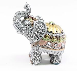 Feng Shui 4.5 Small Gray Elephant Trunk Statue Lucky Figurine Gift Home Decor. $11.95