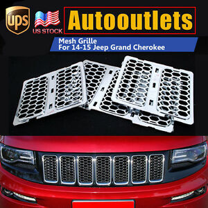 For 14-15 Jeep Grand Cherokee Upper Grille Insert Honeycomb Mesh Fully Chrome