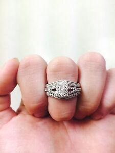 Diamond engagement ring set size 7 with papers