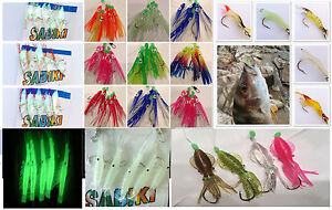 Sabiki 5 Octopus Squid Giant Shrimp Rigs Baits Fishing Lures Catch Hooks Rainbow
