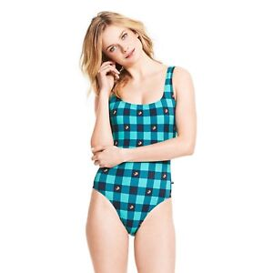 NEW Tommy Hilfiger Blue Lure Plaid One-Piece Swimsuit Tie Back Size 6 10 12