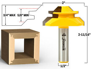 45 Degree Up to 3 4quot; Stock Lock Miter Router Bit 1 2quot; Shank Yonico 15127 $24.95