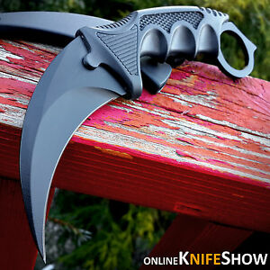 TACTICAL COMBAT KARAMBIT NECK KNIFE Survival Hunting BOWIE Fixed Blade SHEATH