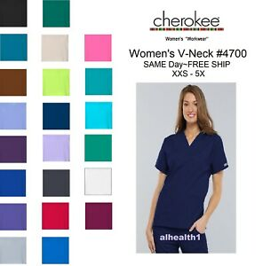 Cherokee Workwear V Neck Womens Nurse Scrub Top Style 4700. NEW Free Shipping