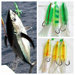 3 Giant Squid Cuttlefish Rigs Soft Baits Fishing Lures 40 Hook Sabiki Offshore