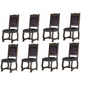 Eight Rustic Gran Hacienda Leather Dining Chairs Solid Wood Lodge Old World