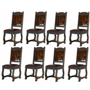 Eight Gran Hacienda Hide Dining Chairs Solid Wood Lodge Shabby Chic