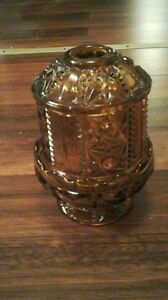 amber indiana glass stars bars fairy candle holder