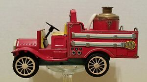old smoky fire truck tin friction motor works