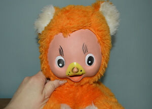 rubber face orange plush cat bear toy east germany