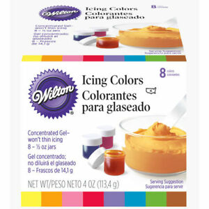 Wilton Set of 8 Concentrated Gel Icing Colors ½ oz Jars $13.82