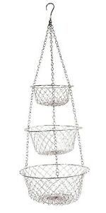 Fox Run 3 Tier Hanging Wire Baskets, Assorted Colors