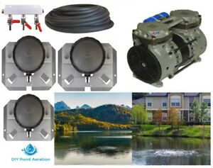 NEW Large POND Aeration Kit 1-4 Acres 300' SINK Tube +Diffusers +3 way valve!