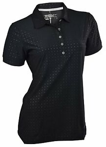 Nike 585867 010 Women's Dri-Fit Dot Embossed Golf Polo Shirt Black Size X-Small