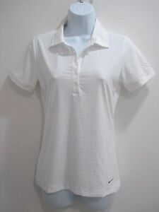 Nike 585867 100 Women's Dri-Fit Dot Embossed Golf Polo Shirt White Size X-Small